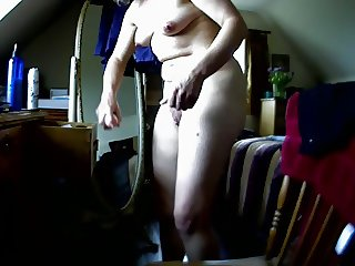 Getting ready for her fuck buddy, hidden