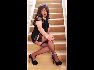 Sindy fondles herself on the stairs