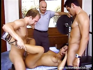 Hairy Brunette Swinger Wild Threesome