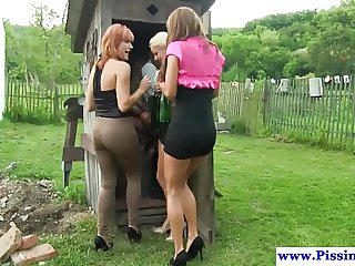 Euro glam piss lovers sucking dick outdoors