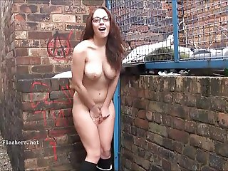Sexy amateur flasher Beaus outdoor striptease and voyeur