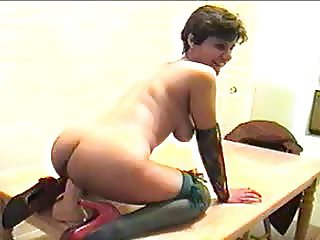 Wife riding a fat dildo