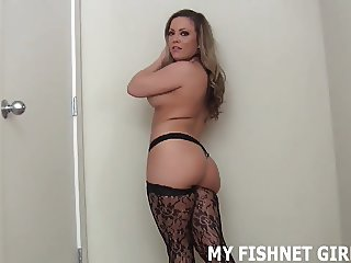 I put on a sexy pair of fishnets with a garter belt for you