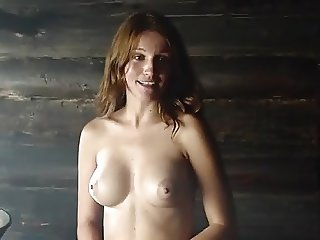 Hot Russian women naked and wet in a sauna