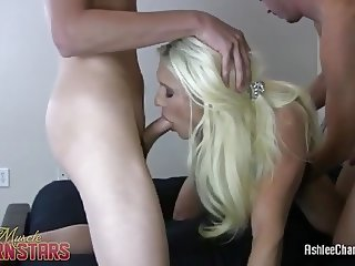 Muscular Ashlee Chambers Fucks Two Guys
