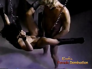 Stunning raven-haired slag gets nailed while being suspended
