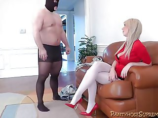 Amazon blonde Femdom Mistress dominates male slave
