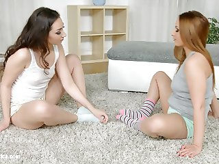 Beautiful lesbians Leyla Bentho and Kerry engage in hot