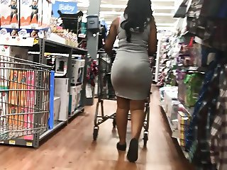 Thick Butt Ebony in Grey Dress