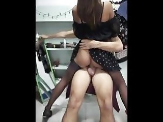 Filipina riding big cock in fully-fashioned stockings