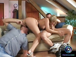 Alluring blonde Ellen Saint loves to please two huge cocks