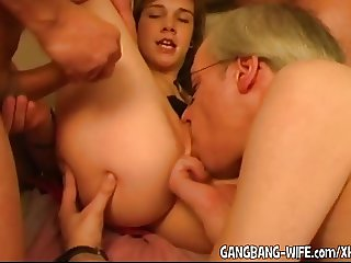 Young amateurs gangbanged for the first time