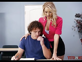 Blonde Teacher Slut helps Student Study
