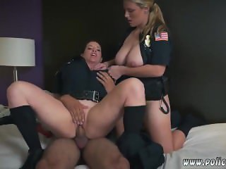 Redhead police and busty milf and friend