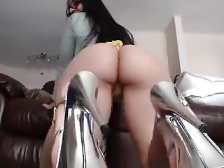 GIRL WITH BIG ASS AND SILVER HEELS