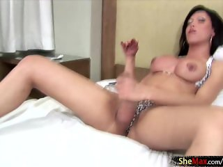 Big boobed tranny plays with thick cock with fingers in ass