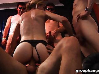 GroupBanged.com Amateur blonde takes many horny cocks