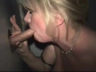 Amateur Blonde Wife at Glory Hole with Facial