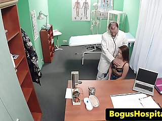 Real euro patient gets oral examed by doc