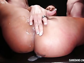 Tattooed Milf gets gangbanged and creampies by 5 strangers