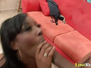 Face full of cum for ebony gal Vanessa B