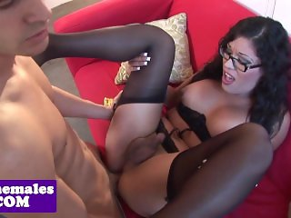 Busty tranny in spex assfucked before facial