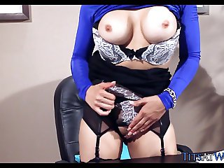 Blondie with Stockings gets Horny on the Job