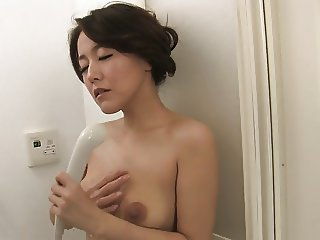 Brunette with natural tits eats cumload after BJ