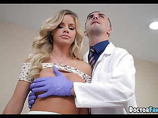Blonde Babe goes in for a Physical