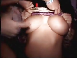 busty girl flashes tits