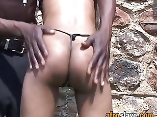 African sex slave gets pussy teased