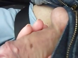 Couple play in moving car