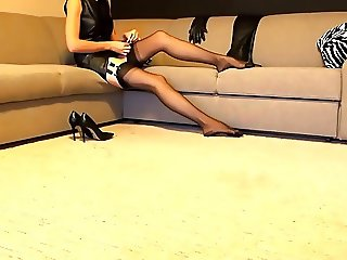 Stockings,high heels,leather boots