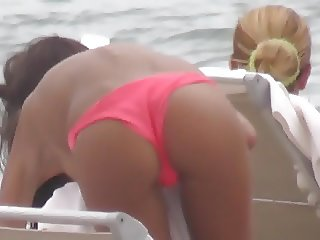 shy topless tanned brunette perfect butt pink string