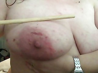 Bad girl needs to pay... cane + boobs= bruises