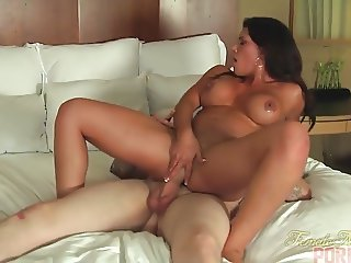 Riding a huge hard cock and demanding muscle worship