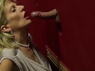 British lady blowjob handjob glory hole