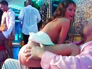 Horny babes dances and fucks at a bride bang party