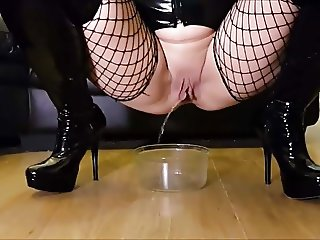Mistress pisses in bowl for you