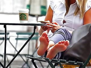 Blond candid soles in street