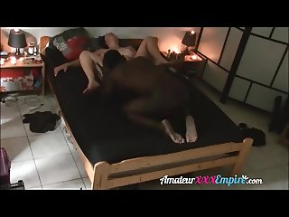 Hotwife fucking black lover while hubby working