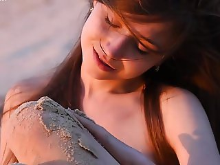Nude teen at the beach cool didge music