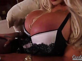 Horny big boobed step mum masturbates in front of stepson