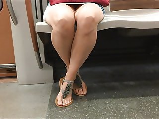 Candid Feet in Sandals on the Metro Face