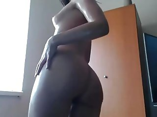Oily Babe Dancing and Smoking
