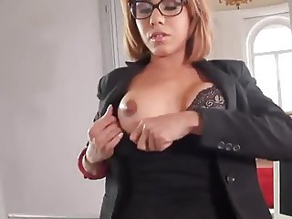 Cute Nerdy Girl in glasses Footjob 42