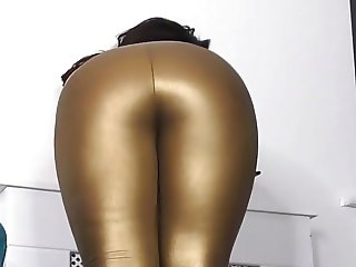 Worship Ass In Gold Leggings