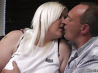 Blonde bbw gives head and rides cheating cock