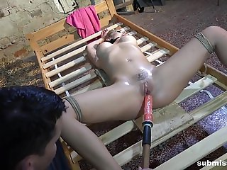 Submissed.com Amazing Nicole Vice bound spread finger-fucked