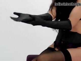 Hot babes love butter soft leather gloves on their big boobs